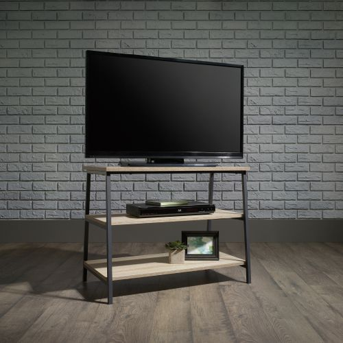 Teknik Office Industrial Style TV Stand with Durable Black Metal Frame and Charter Oak Effect Shelves and Room for 36in TV