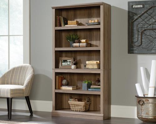 Teknik Office Barrister Home 5 Shelf Bookcase in Salt Oak Finish with three adjustable shelves and easy assembly