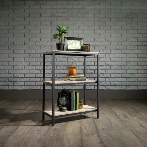 Teknik Office Industrial Style 2 Shelf Bookcase Durable Black Metal Frame Charter Oak Effect Generously Sized Shelves