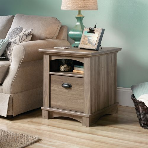 Teknik Office Barrister Home Side Table Salt Oak Finish with One Deep Drawer and Open Shelf