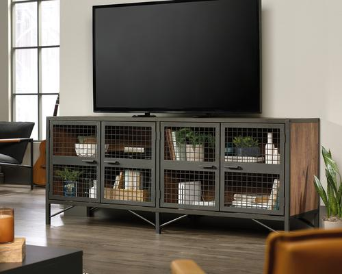 Teknik Office Boulevard Cafe Industrial Styled Sideboard in Vintage Oak effect and black accents stylish mesh detail and powder coated metal frame