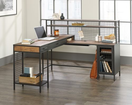 Teknik Office Boulevard L Shaped Desk Black Finish Contrasting Vintage Oak Accent Effect