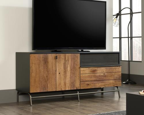 """Teknik Office Boulevard Cafe TV Credenza in a black finish with Vintage Oak accents accommodates up to 60"""" TV 2 adjustable shelves behind doors"""