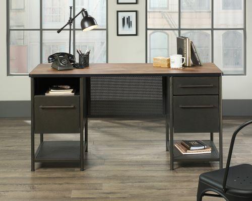 Teknik Office Boulevard Cafe Desk Black Finish Contrasting  Vintage Oak Accent effect