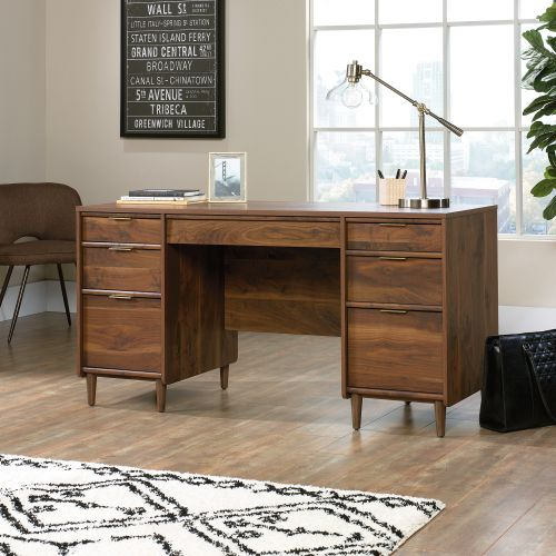 Teknik Office Clifton Place Executive Desk with Grand Walnut Effect Finish Flip Down Keyboard Shelf Two File Drawers and Solid Wooden Feet