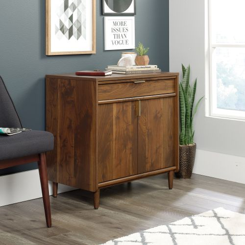 Teknik Office Clifton Place Storage Sideboard Grand Walnut Effect Finish Storage Drawer Adjustable Shelf Behind Sliding Doors and Solid Wooden Feet