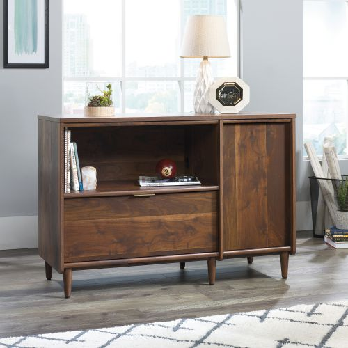 Teknik Office Clifton Place Credenza Grand Walnut Effect Finish Open Display Shelf Hidden Adjustable Shelf Large File Drawer and Solid Wooden Feet