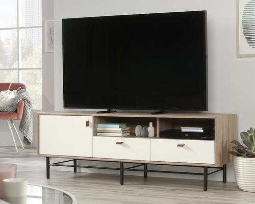 Teknik Office Avon Leather TV Stand/Credenza Sky Oak White accents for TV up to 31kg