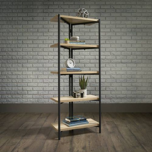 Teknik Office Industrial Style Chunky 4 Shelf Bookcase with Durable Black Metal Frame Charter Oak Effect and Generously Sized Shelves