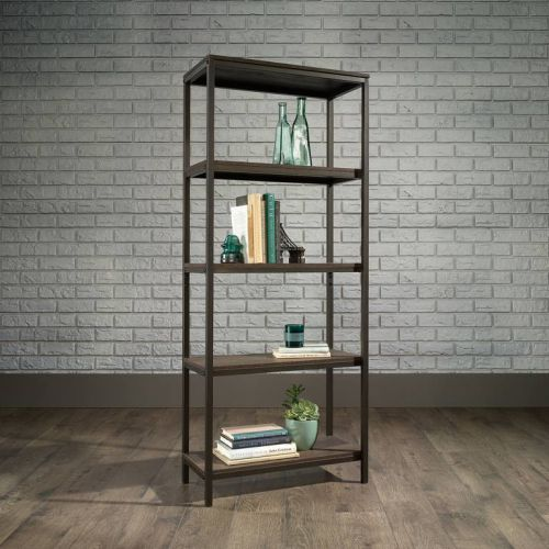 Teknik Office Industrial Style 4 Shelf Bookcase Smoked Oak Effect Durable Black Metal Frame 4 Shelves