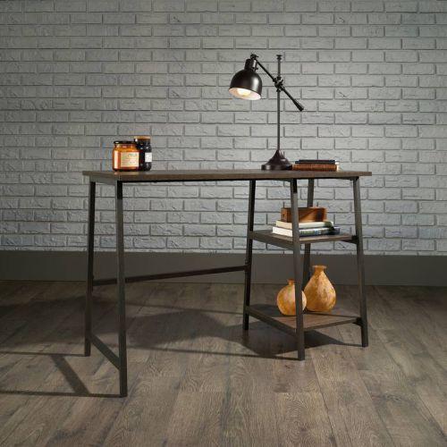Teknik Office Industrial Style Bench Smoked Oak Effect Durable Black Metal Frame Matching Storage Shelves
