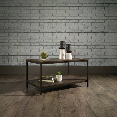 Teknik Office Industrial Style Coffee Table Smoked Oak EffectSmoked Oak Effect Durable Black Metal Frame Open Shelving