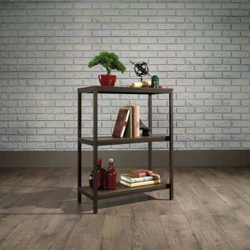 Teknik Office Industrial Style 2 Shelf Bookcase Smoked Oak Effect Durable Black Metal Frame 2 Shelves