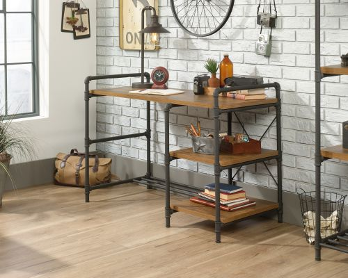 Teknik Office Iron Foundry Desk with Checked Oak effect finish Textured Powder Coated Metal Pipe Framework