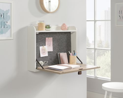 Teknik Office Avon Leather Handled Wall Desk White with Sky Oak Accent Effect Hanging Design