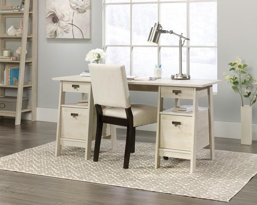 Teknik Office Executive Trestle Desk Chalked Chestnut and Brass Effect Handles