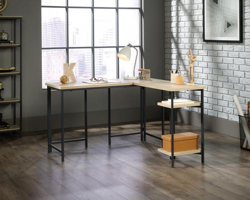 Teknik Office Industrial Style L-Shaped Executive Desk in Charter Oak finish and durable black metal frame