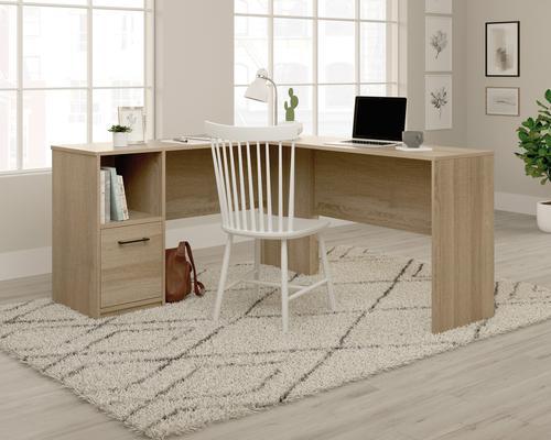 Teknik Office Essentials L Shaped Desk Summer Oak Finish, Large Desk Return Letter Size Hanging Filer