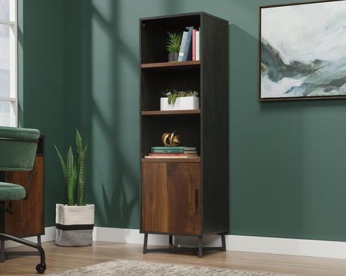 Teknik Office Canyon Lane 3 Shelf Bookcase with a door Brew Oak finish with Grand Walnut accents 3 sturdy 1 inch thick adjustable shelves and black po