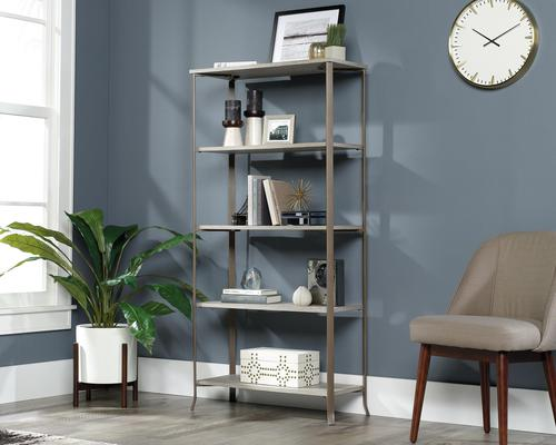 Teknik Office City Centre 5 Shelf Bookcase in Champagne Oak Finish with contrasting durable satin taupe metal frame and five open spacious shelves