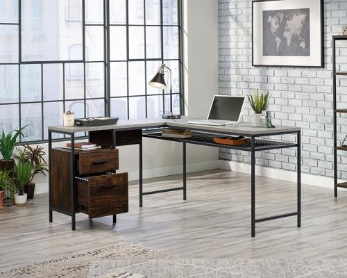 Teknik Office Market L-Shaped Executive Desk Rich Walnut and Slate Grey accents