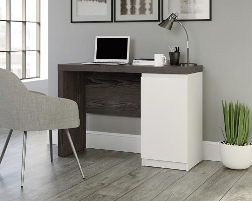 Teknik Office Hudson Chunky Desk in Charcoal Ash and Pearl Oak Accents, stylish with storage