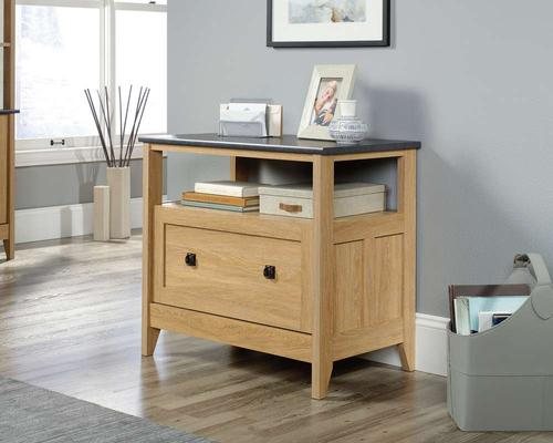Teknik Office Home Study Lateral Filer in Dover Oak Finish with filing drawer and Slate accent