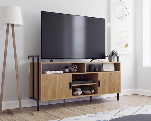 Teknik Office Hythe Wall Mounted TV Stand / Credenza Serene Walnut Finish