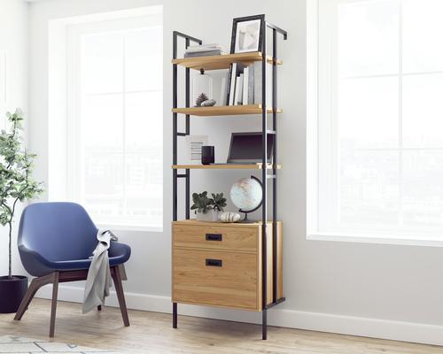 Teknik Office Hythe Wall Mounted 4 Shelf Bookcase with Drawers Serene Walnut Finish