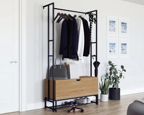 Teknik Office Hythe Wall Mounted Hallway Storage Serene Walnut Finish
