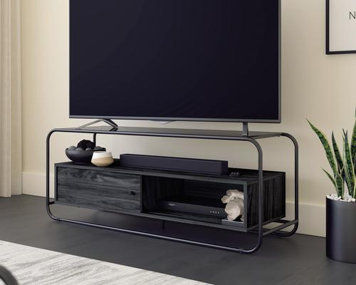 """Teknik Office Metro TV Stand in Misted Elm finish with tempered glass top which can accommodate up to a 50"""" TV Open shelving and divided lower shelvin"""