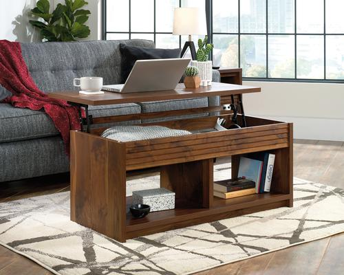 Teknik Office Hampstead Park Lift Up Coffee / Work  Table in Grand Walnut Finish with hidden storage space open shelves and lift up top.