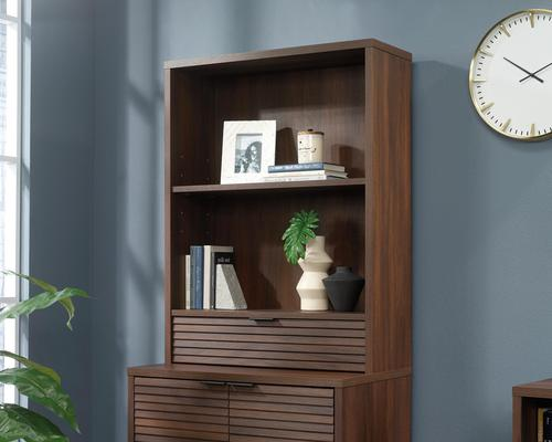 Teknik Office Elstree Hutch with Drawer in Spiced Mahogany finish with stylish louvre-style detailing