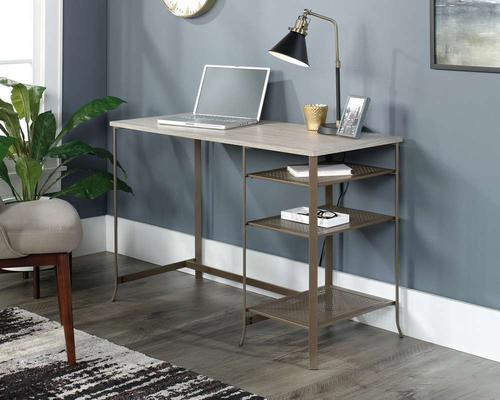 Teknik Office City Centre Desk in Champagne Oak Finish with contrasting durable satin taupe metal frame and changeable left or right shelving.