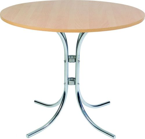 Teknik Office Round Beech Effect Bistro Table with Chrome Legs