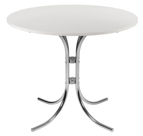 Teknik Office Round White Bistro Table with Chrome Legs