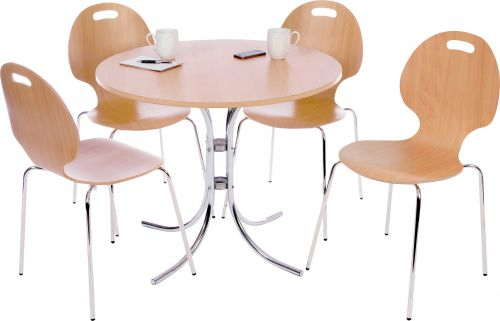 Teknik Office Cafe Bistro Set with Round Beech Effect Bistro Table and 4 Matching Cafe Chairs