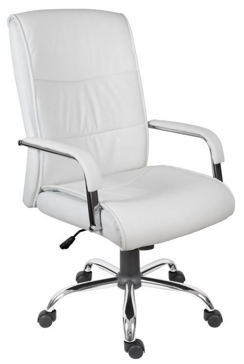 Teknik Office Kendal White Luxury Office Chair Matching Padded Arm Covers and Chrome Five Star Base