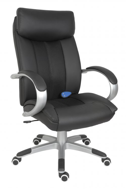 Teknik Office Shiatsu Massage Black Faux Leather Executive Chair Matching Capped Five Star Base