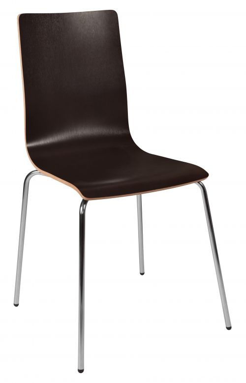 Teknik Office Loft Bistro Chair Wenge Coloured Breakout Chair Chrome Legs and Solid Shell Seating Sold Packs Of 4