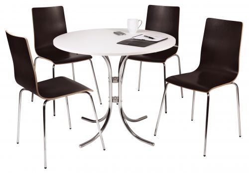 Teknik Office Loft Bistro Set with White Bistro Table and 4 Contrasting Wenge Style Bistro Chairs