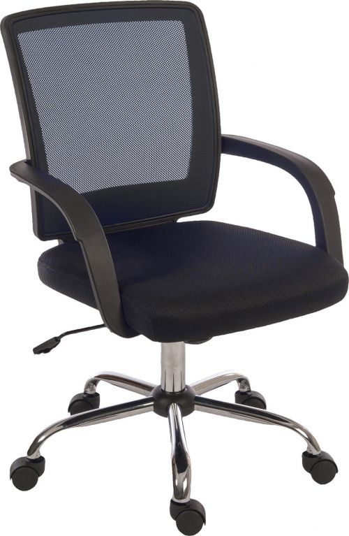 Teknik Office Star Mesh Black Back Executive Chair With Contrasting Matching Black Fabric Seat Fixed Nylon Armrests