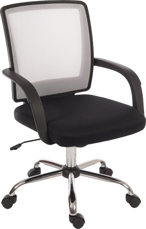 Teknik Office Star Mesh White Back Executive Chair With Contrasting Matching Black Fabric Seat And Fixed Nylon Armrests