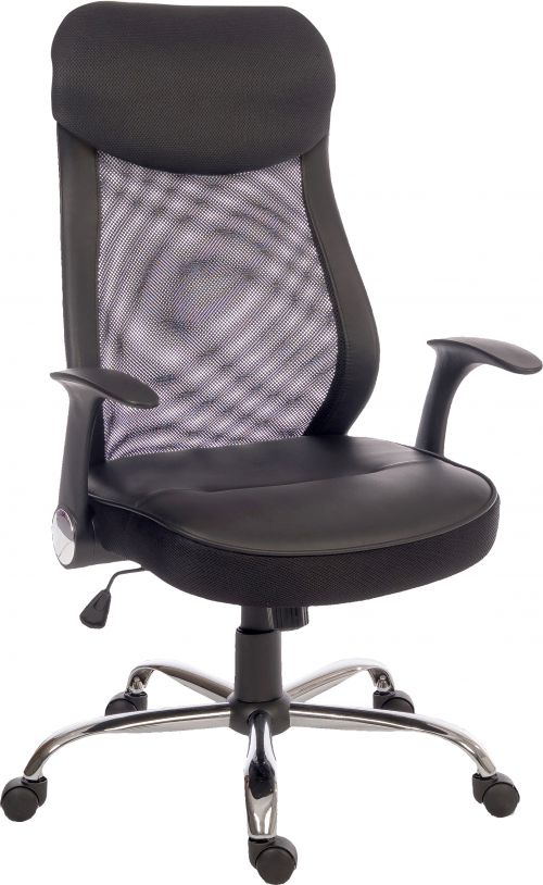 Teknik Office Curve Contemporary Mesh Executive Chair Lumbar Curved Back and Retractable Armrests