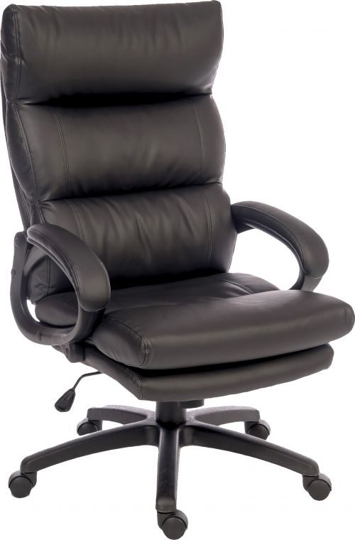 Teknik Office Luxe Black Leather Look Executive Chair Matching Padded Armrests and Sturdy Nylon Base