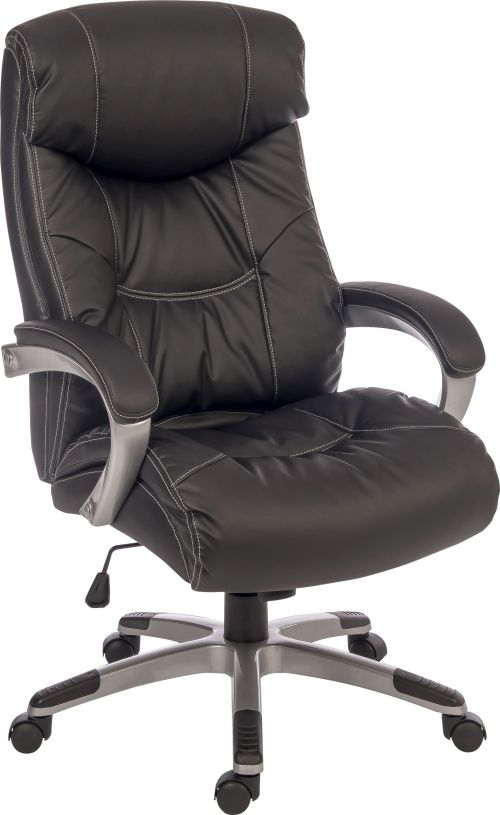 Teknik Office Siesta Black Luxury Leather Look Executive Chair Padded Armrests Matching Capped Five Star Base