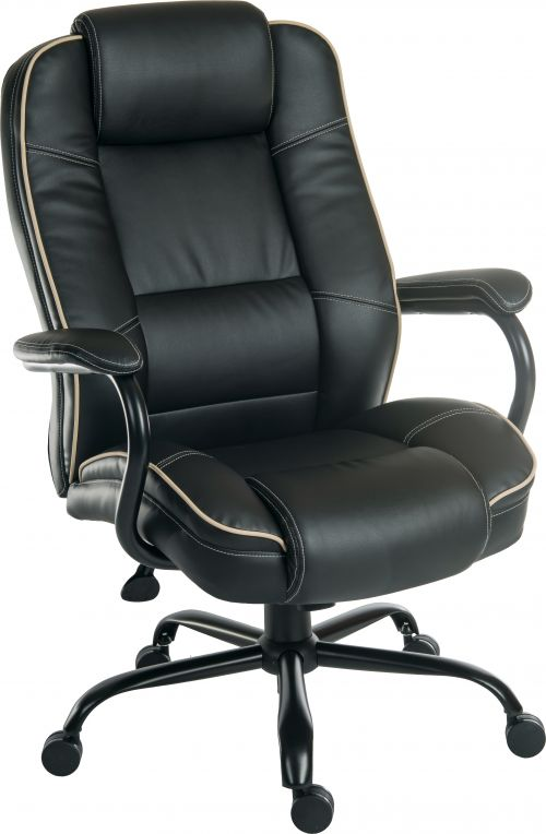 Teknik Office Goliath Duo Heavy Duty Black Bonded Leather Faced Executive Office Chair Padded Armrests Contrast Piping