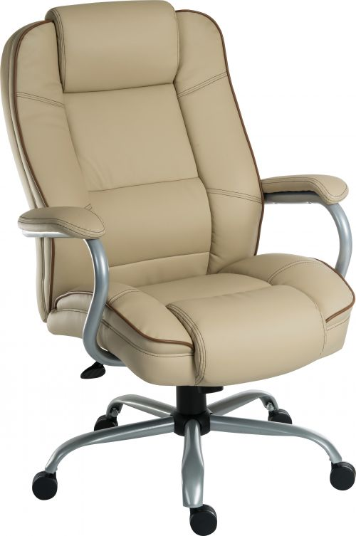 Teknik Office Goliath Duo Heavy Duty Cream Bonded Leather Executive Office Chair Padded Armrests Contrast Piping