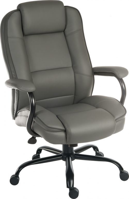 Teknik Office Goliath Duo Heavy Duty Grey Bonded Leather Faced Executive Office Chair with matching padded armrests and contrasting piping detail.