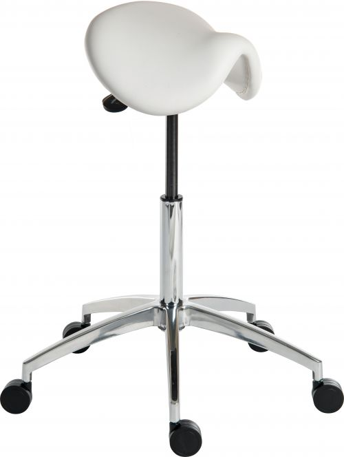 Teknik Office Perch White Sit/Stand Height Adjustable Stool Pyramid Shaped Aluminium Five Star Base